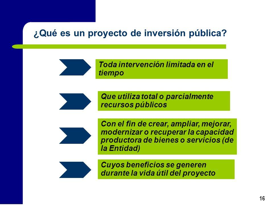 16 Toda intervención limitada en el tiempo Que utiliza total o parcialmente recursos públicos Con el fin de crear, ampliar, mejorar, modernizar o recu
