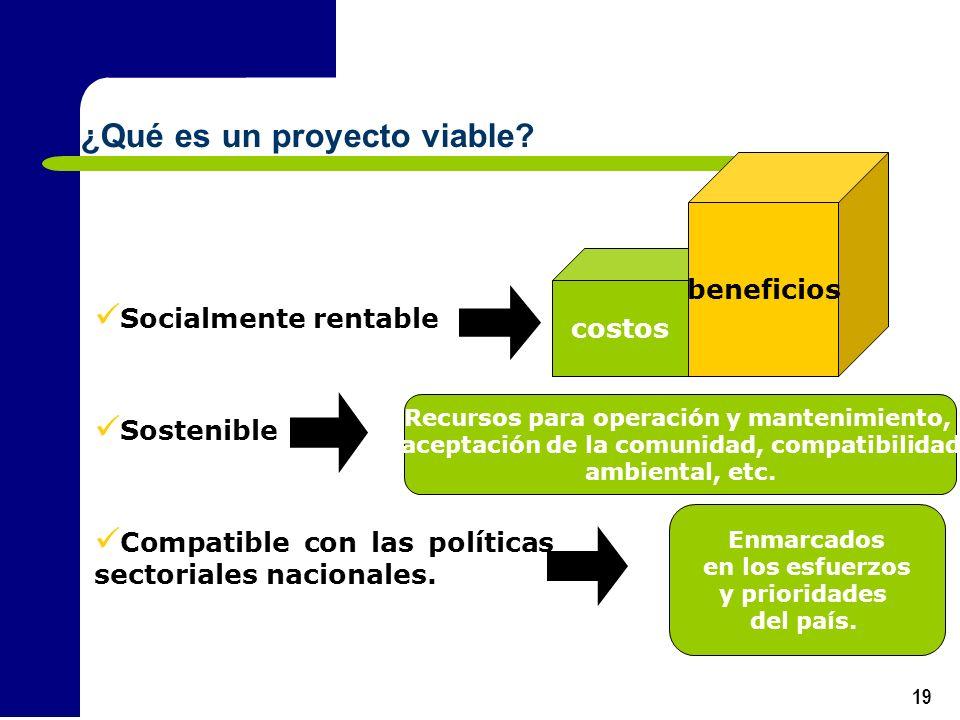 19 Socialmente rentable Sostenible Compatible con las políticas sectoriales nacionales. costos beneficios Recursos para operación y mantenimiento, ace