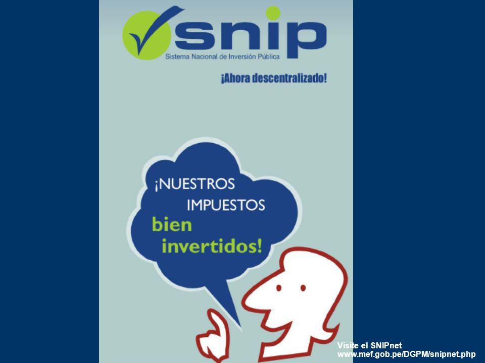 30 Visite el SNIPnet www.mef.gob.pe/DGPM/snipnet.php
