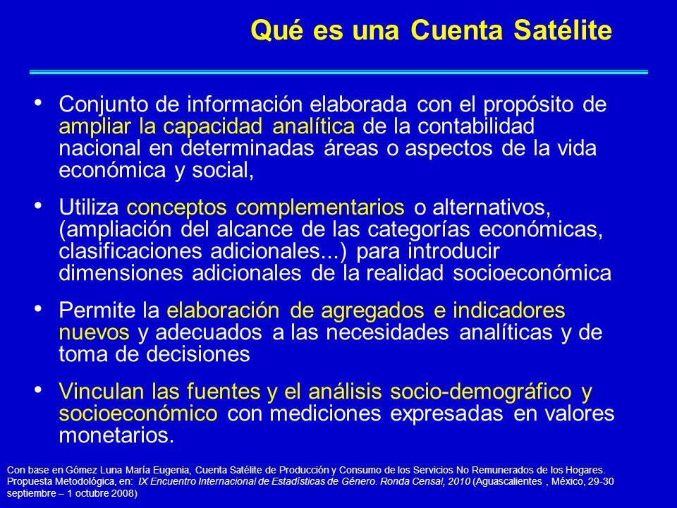 Conjunto de información elaborada con el propósito de ampliar la capacidad analítica de la contabilidad nacional en determinadas áreas o aspectos de l