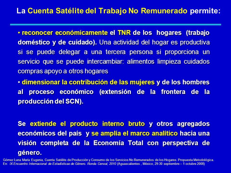 La Cuenta Satélite del Trabajo No Remunerado permite: reconocer económicamente el TNR de los hogares (trabajo doméstico y de cuidado). Una actividad d