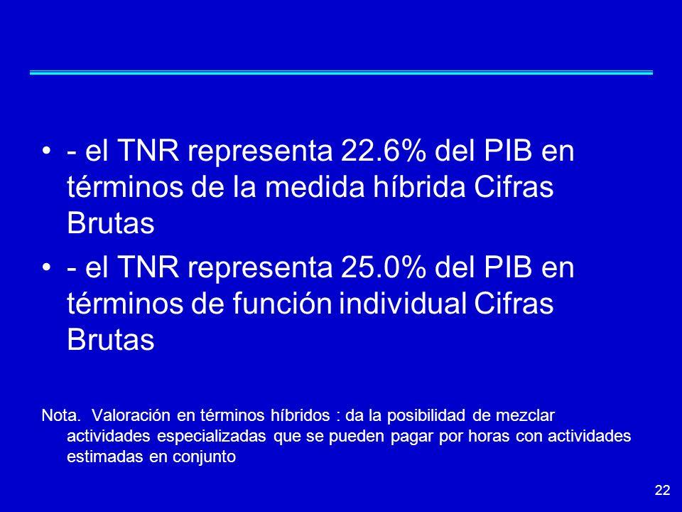 - el TNR representa 22.6% del PIB en términos de la medida híbrida Cifras Brutas - el TNR representa 25.0% del PIB en términos de función individual C