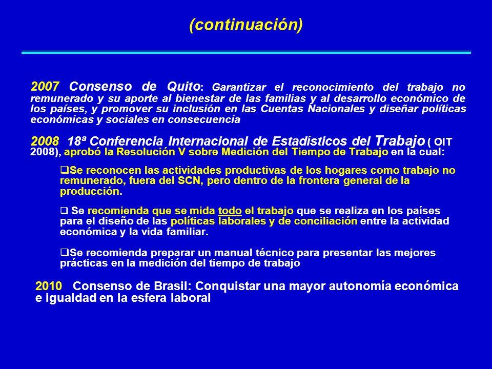 2007 Consenso de Quito : Garantizar el reconocimiento del trabajo no remunerado y su aporte al bienestar de las familias y al desarrollo económico de