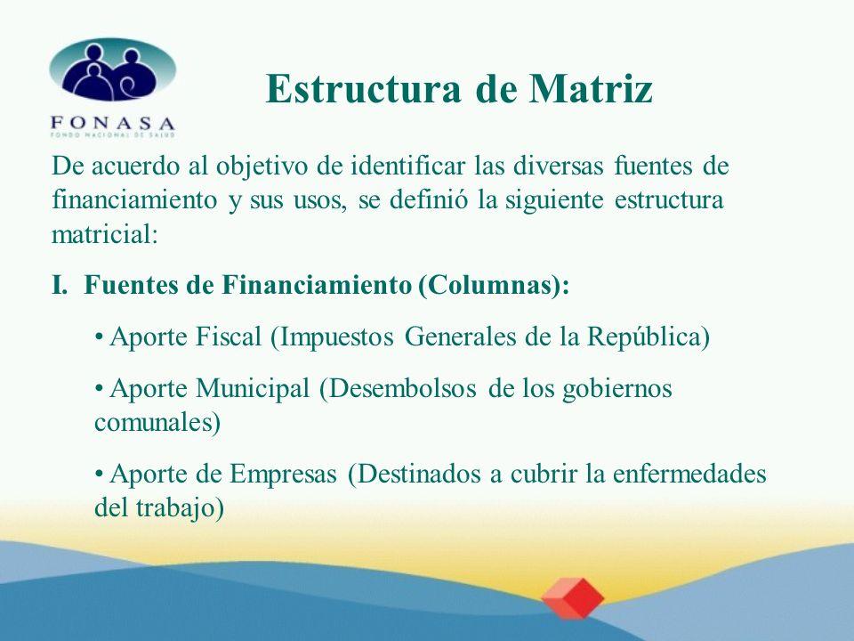 Estructura de Matriz De acuerdo al objetivo de identificar las diversas fuentes de financiamiento y sus usos, se definió la siguiente estructura matri