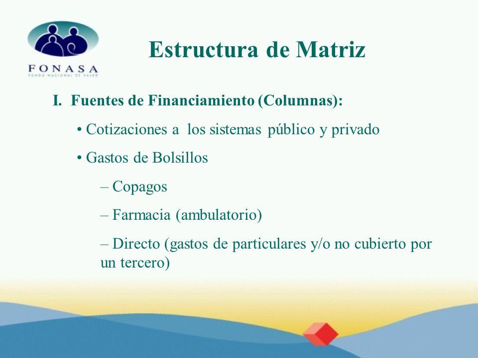 Estructura de Matriz I. Fuentes de Financiamiento (Columnas): Cotizaciones a los sistemas público y privado Gastos de Bolsillos – Copagos – Farmacia (