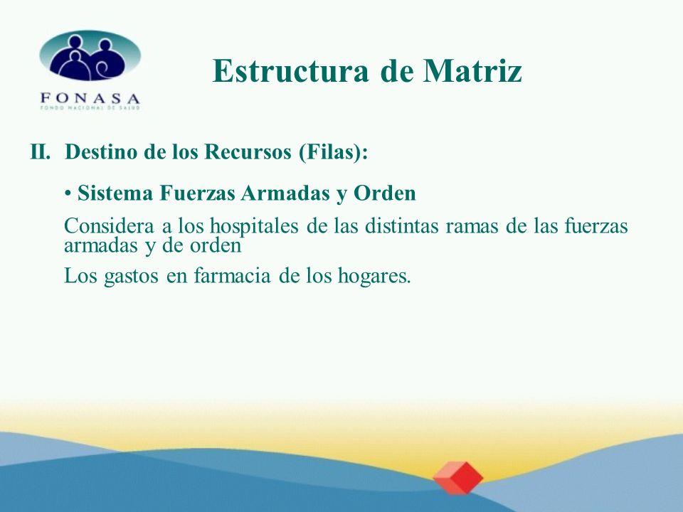 Estructura de Matriz II. Destino de los Recursos (Filas): Sistema Fuerzas Armadas y Orden Considera a los hospitales de las distintas ramas de las fue