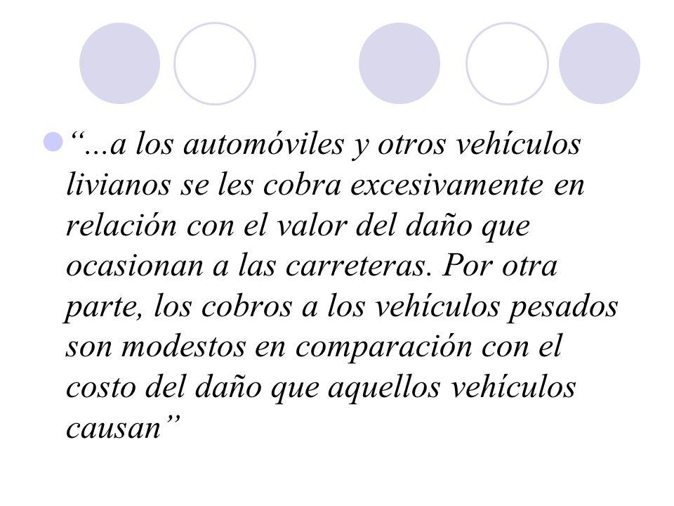 ...a los automóviles y otros vehículos livianos se les cobra excesivamente en relación con el valor del daño que ocasionan a las carreteras. Por otra