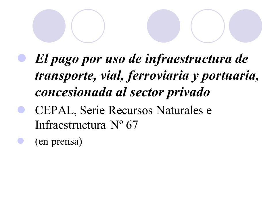 El pago por uso de infraestructura de transporte, vial, ferroviaria y portuaria, concesionada al sector privado CEPAL, Serie Recursos Naturales e Infr