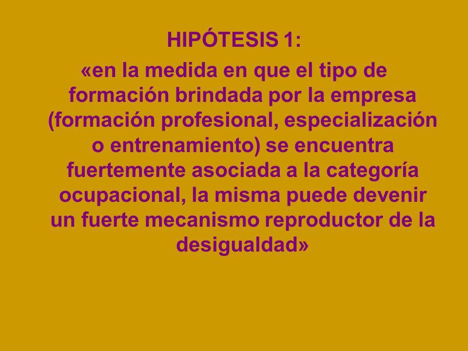 HIPÓTESIS 1: «en la medida en que el tipo de formación brindada por la empresa (formación profesional, especialización o entrenamiento) se encuentra fuertemente asociada a la categoría ocupacional, la misma puede devenir un fuerte mecanismo reproductor de la desigualdad»