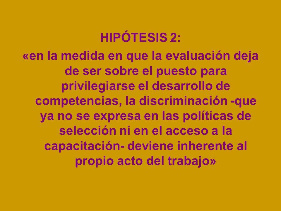 HIPÓTESIS 2: «en la medida en que la evaluación deja de ser sobre el puesto para privilegiarse el desarrollo de competencias, la discriminación -que y