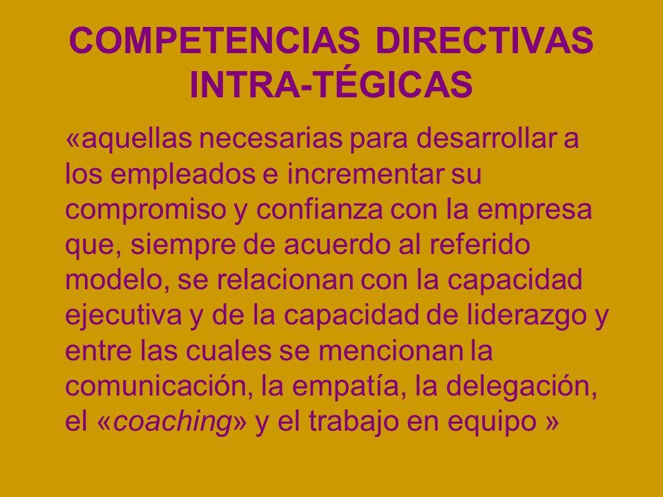 COMPETENCIAS DIRECTIVAS INTRA-TÉGICAS «aquellas necesarias para desarrollar a los empleados e incrementar su compromiso y confianza con la empresa que, siempre de acuerdo al referido modelo, se relacionan con la capacidad ejecutiva y de la capacidad de liderazgo y entre las cuales se mencionan la comunicación, la empatía, la delegación, el «coaching» y el trabajo en equipo »
