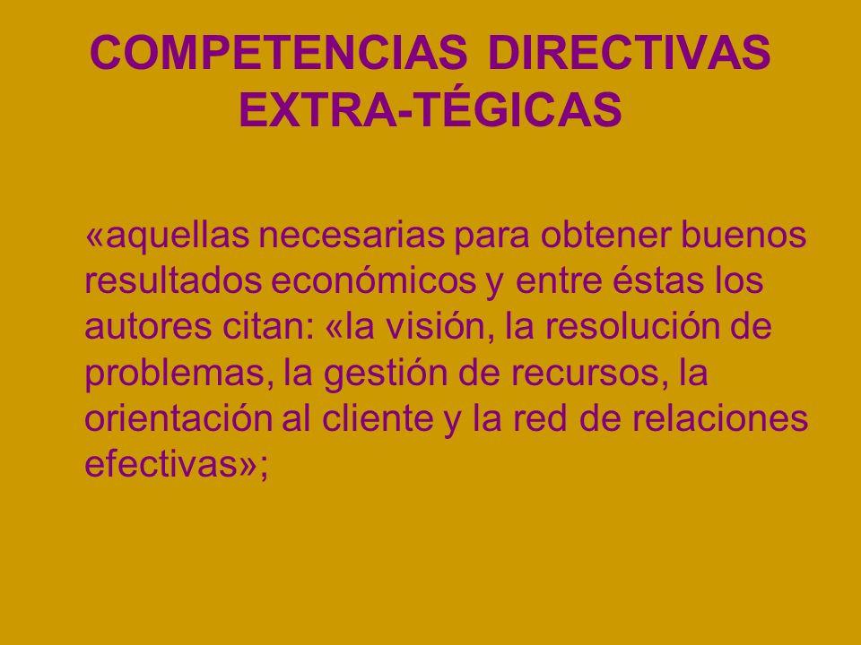 COMPETENCIAS DIRECTIVAS EXTRA-TÉGICAS «aquellas necesarias para obtener buenos resultados económicos y entre éstas los autores citan: «la visión, la resolución de problemas, la gestión de recursos, la orientación al cliente y la red de relaciones efectivas»;