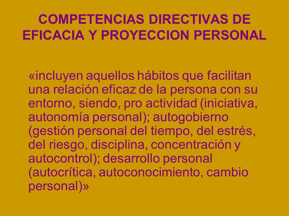 COMPETENCIAS DIRECTIVAS DE EFICACIA Y PROYECCION PERSONAL «incluyen aquellos hábitos que facilitan una relación eficaz de la persona con su entorno, s