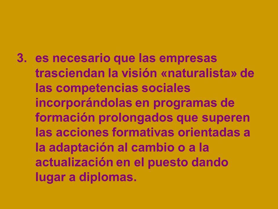 3.es necesario que las empresas trasciendan la visión «naturalista» de las competencias sociales incorporándolas en programas de formación prolongados
