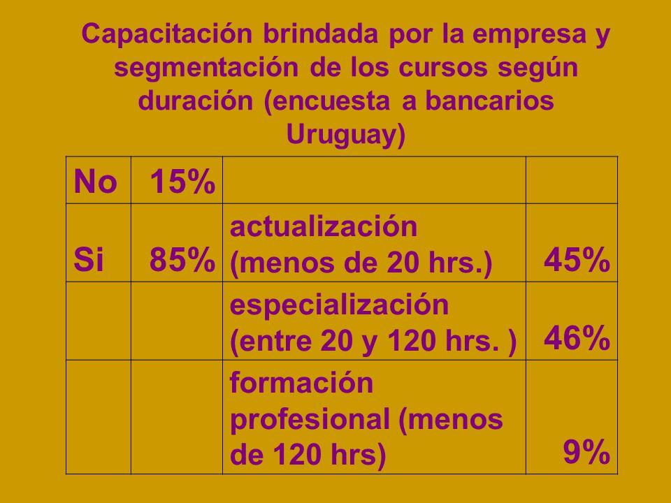 Capacitación brindada por la empresa y segmentación de los cursos según duración (encuesta a bancarios Uruguay) No15% Si85% actualización (menos de 20 hrs.) 45% especialización (entre 20 y 120 hrs.
