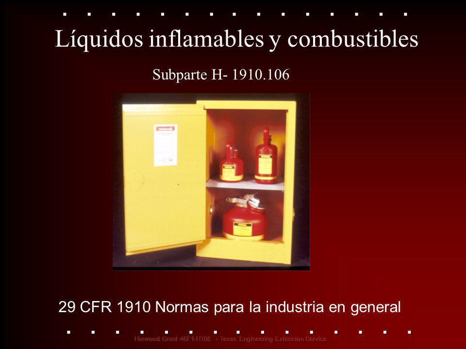 Líquidos inflamables y combustibles 29 CFR 1910 Normas para la industria en general Subparte H- 1910.106