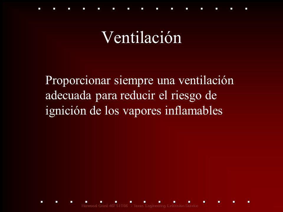 Ventilación Proporcionar siempre una ventilación adecuada para reducir el riesgo de ignición de los vapores inflamables
