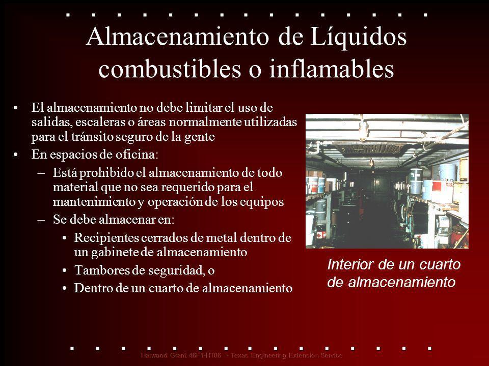 Almacenamiento de Líquidos combustibles o inflamables El almacenamiento no debe limitar el uso de salidas, escaleras o áreas normalmente utilizadas pa