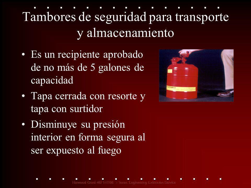 Tambores de seguridad para transporte y almacenamiento Es un recipiente aprobado de no más de 5 galones de capacidad Tapa cerrada con resorte y tapa c