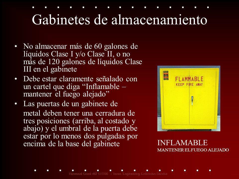 Gabinetes de almacenamiento No almacenar más de 60 galones de líquidos Clase I y/o Clase II, o no más de 120 galones de líquidos Clase III en el gabin
