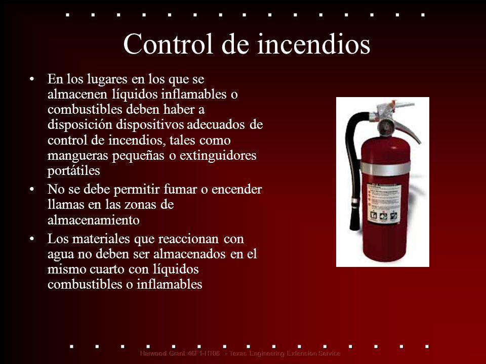 Control de incendios En los lugares en los que se almacenen líquidos inflamables o combustibles deben haber a disposición dispositivos adecuados de co