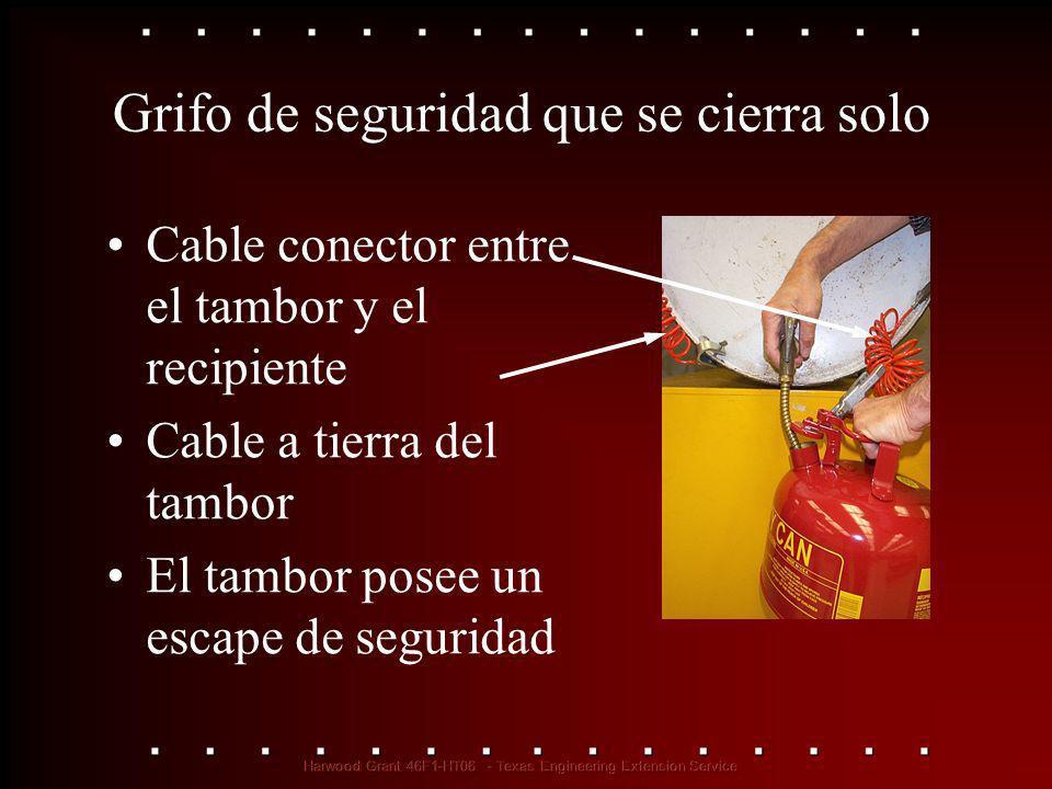 Grifo de seguridad que se cierra solo Cable conector entre el tambor y el recipiente Cable a tierra del tambor El tambor posee un escape de seguridad