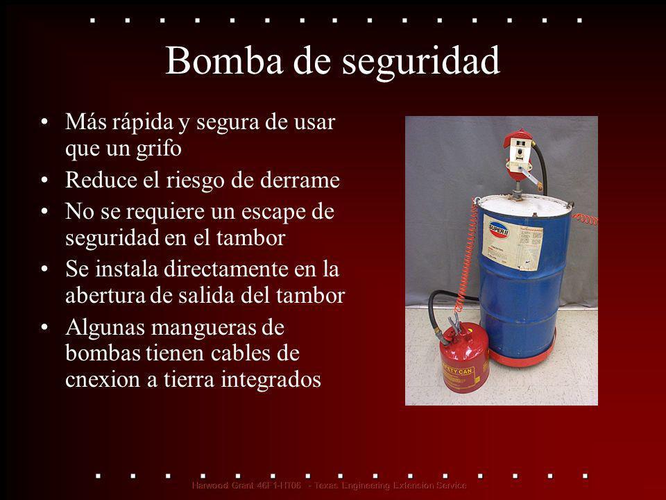 Bomba de seguridad Más rápida y segura de usar que un grifo Reduce el riesgo de derrame No se requiere un escape de seguridad en el tambor Se instala