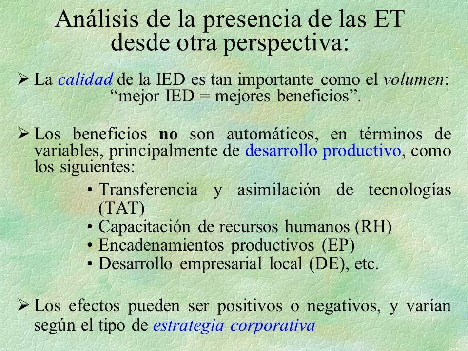 Análisis de la presencia de las ET desde otra perspectiva: La calidad de la IED es tan importante como el volumen: mejor IED = mejores beneficios.