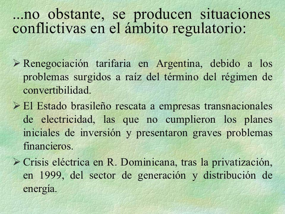 ...no obstante, se producen situaciones conflictivas en el ámbito regulatorio: Renegociación tarifaria en Argentina, debido a los problemas surgidos a raíz del término del régimen de convertibilidad.