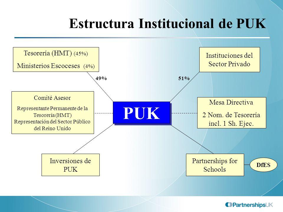 Estructura Institucional de PUK 49%51% Comité Asesor Representante Permanente de la Tesorería (HMT) Representación del Sector Público del Reino Unido