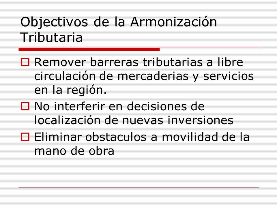 Objectivos de la Armonización Tributaria Remover barreras tributarias a libre circulación de mercaderias y servicios en la región. No interferir en de