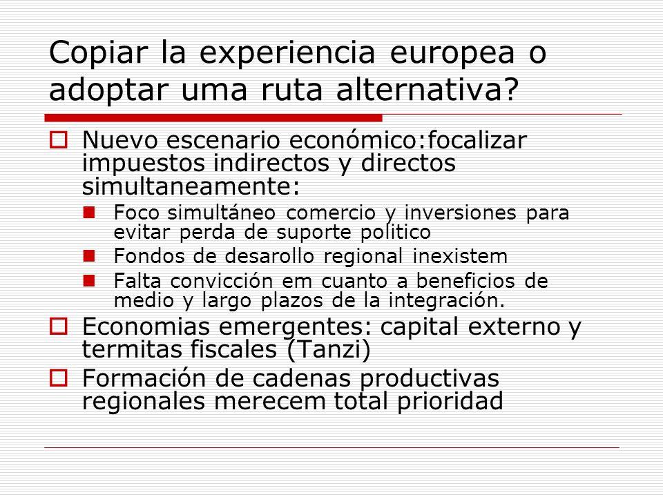 Copiar la experiencia europea o adoptar uma ruta alternativa? Nuevo escenario económico:focalizar impuestos indirectos y directos simultaneamente: Foc