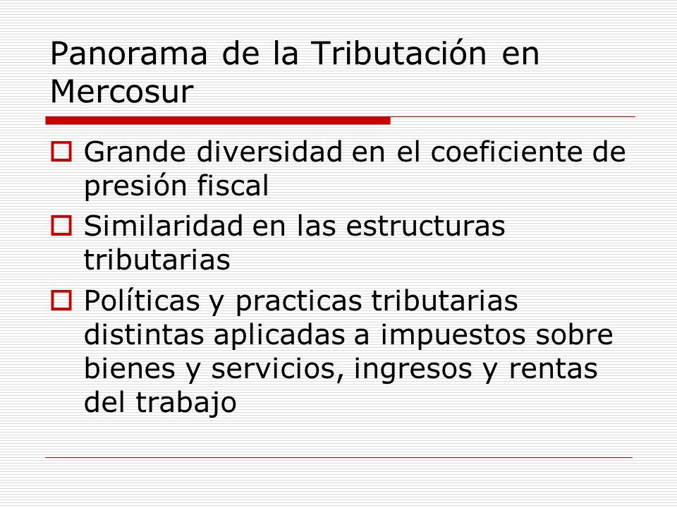 Panorama de la Tributación en Mercosur Grande diversidad en el coeficiente de presión fiscal Similaridad en las estructuras tributarias Políticas y pr