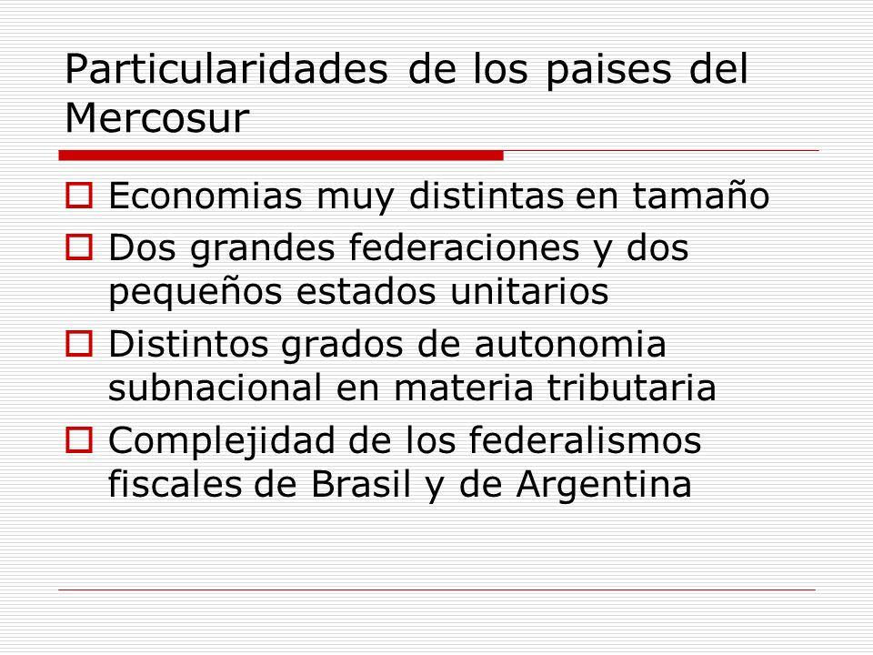 Particularidades de los paises del Mercosur Economias muy distintas en tamaño Dos grandes federaciones y dos pequeños estados unitarios Distintos grad