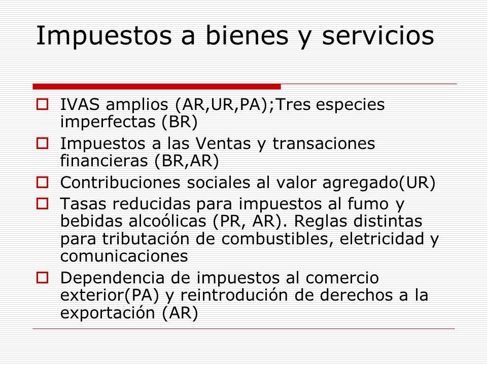 Impuestos a bienes y servicios IVAS amplios (AR,UR,PA);Tres especies imperfectas (BR) Impuestos a las Ventas y transaciones financieras (BR,AR) Contri