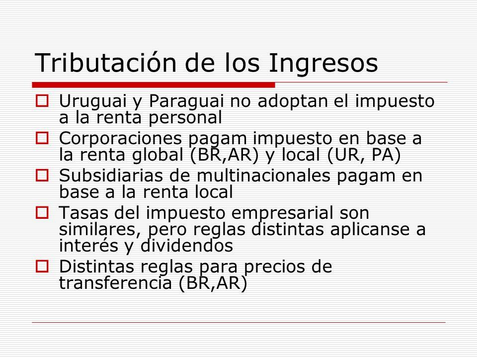 Tributación de los Ingresos Uruguai y Paraguai no adoptan el impuesto a la renta personal Corporaciones pagam impuesto en base a la renta global (BR,A