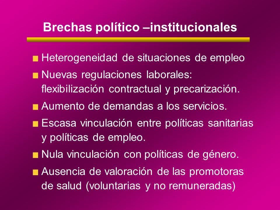 Brechas político –institucionales Heterogeneidad de situaciones de empleo Nuevas regulaciones laborales: flexibilización contractual y precarización.