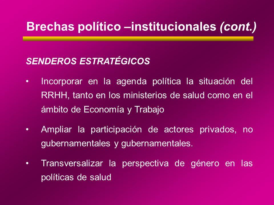 SENDEROS ESTRATÉGICOS Incorporar en la agenda política la situación del RRHH, tanto en los ministerios de salud como en el ámbito de Economía y Trabaj
