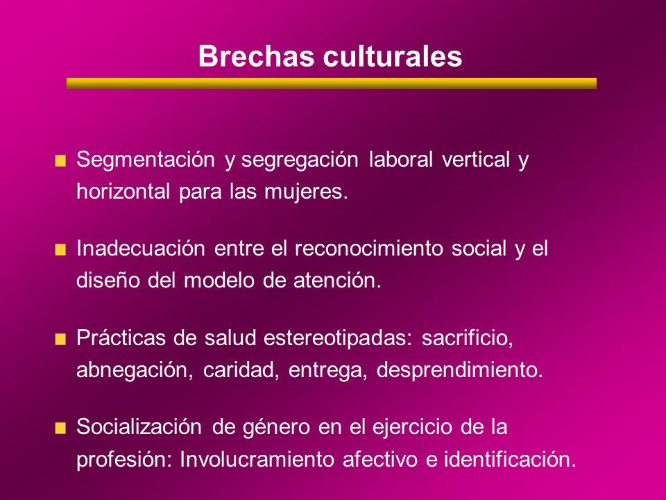Brechas culturales Segmentación y segregación laboral vertical y horizontal para las mujeres. Inadecuación entre el reconocimiento social y el diseño