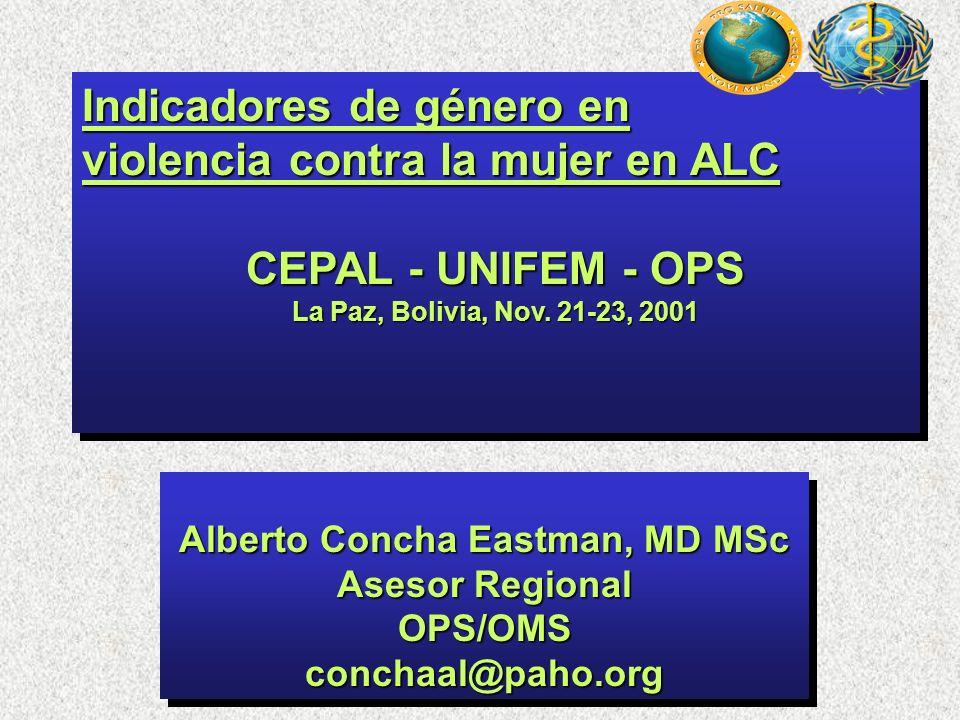 Indicadores de género en violencia contra la mujer en ALC CEPAL - UNIFEM - OPS La Paz, Bolivia, Nov. 21-23, 2001 Indicadores de género en violencia co