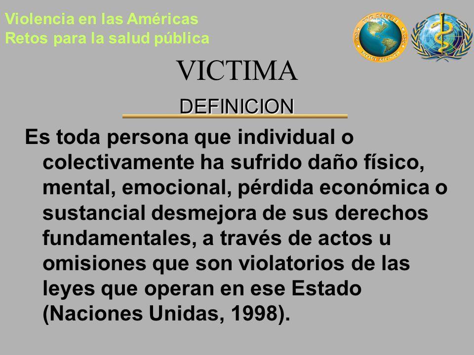 VICTIMA DEFINICION Es toda persona que individual o colectivamente ha sufrido daño físico, mental, emocional, pérdida económica o sustancial desmejora