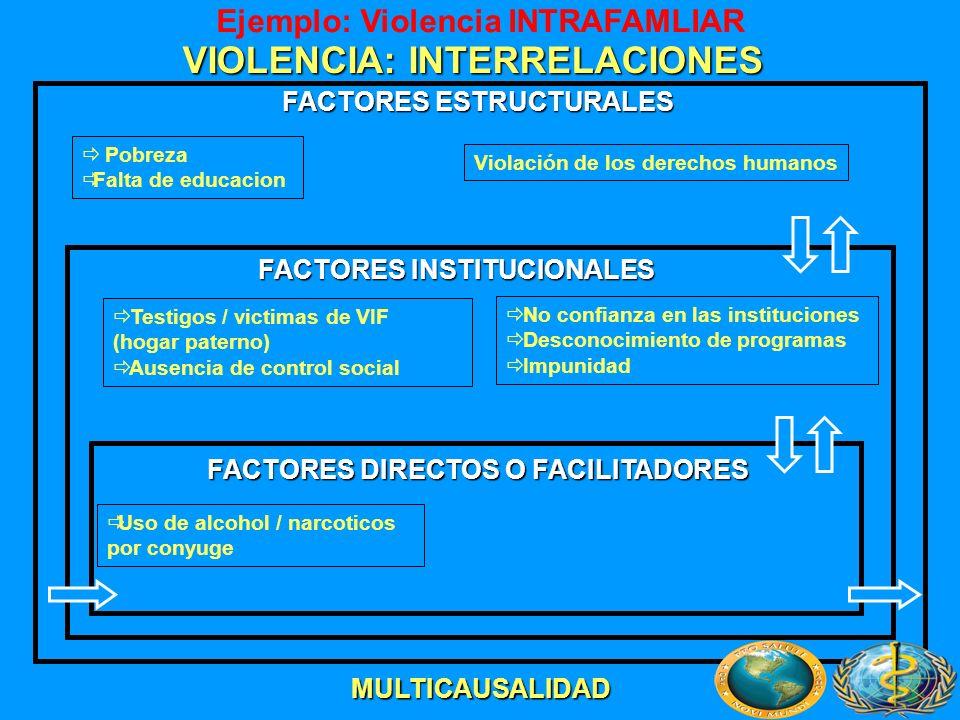 VIOLENCIA: INTERRELACIONES Pobreza Falta de educacion Testigos / victimas de VIF (hogar paterno) Ausencia de control social Uso de alcohol / narcotico