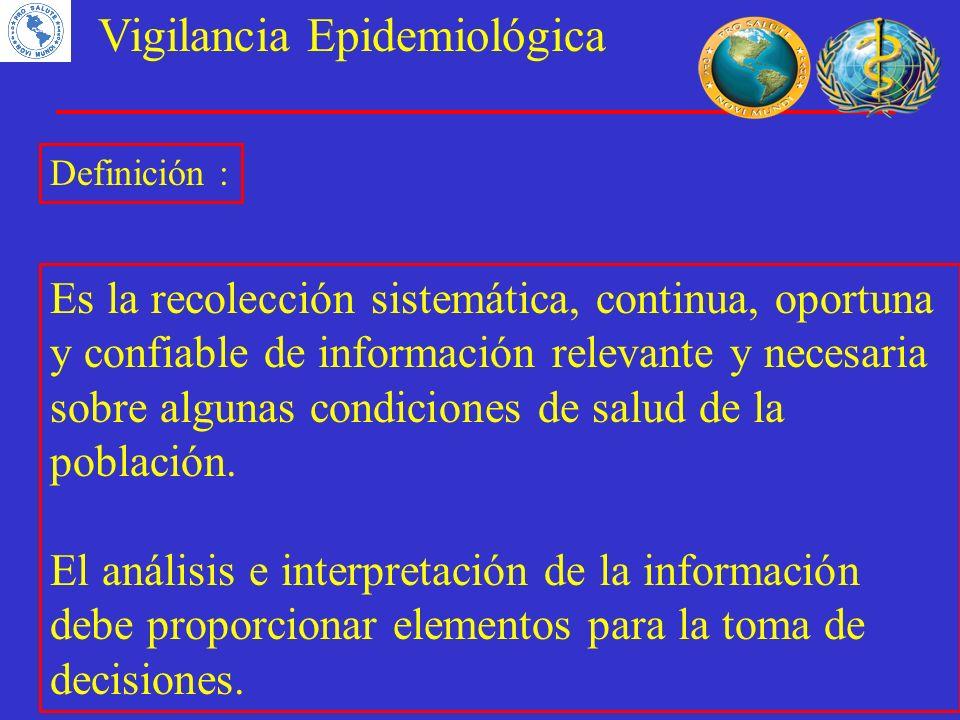 Vigilancia Epidemiológica Definición : Es la recolección sistemática, continua, oportuna y confiable de información relevante y necesaria sobre alguna