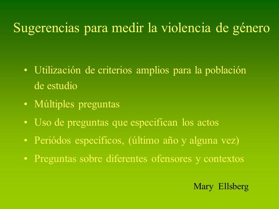 Sugerencias para medir la violencia de género Utilización de criterios amplios para la población de estudio Múltiples preguntas Uso de preguntas que e