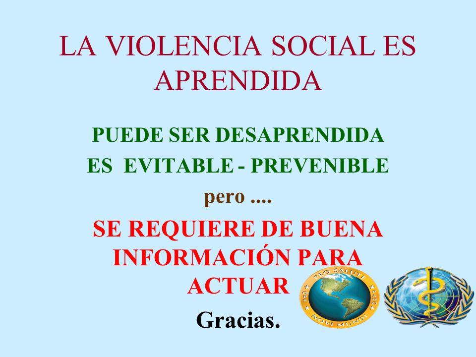 LA VIOLENCIA SOCIAL ES APRENDIDA PUEDE SER DESAPRENDIDA ES EVITABLE - PREVENIBLE pero.... SE REQUIERE DE BUENA INFORMACIÓN PARA ACTUAR Gracias.