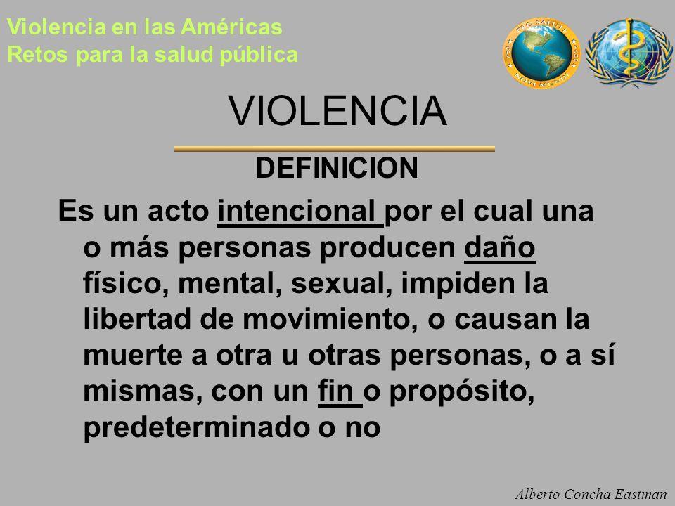 VIOLENCIA DEFINICION Es un acto intencional por el cual una o más personas producen daño físico, mental, sexual, impiden la libertad de movimiento, o