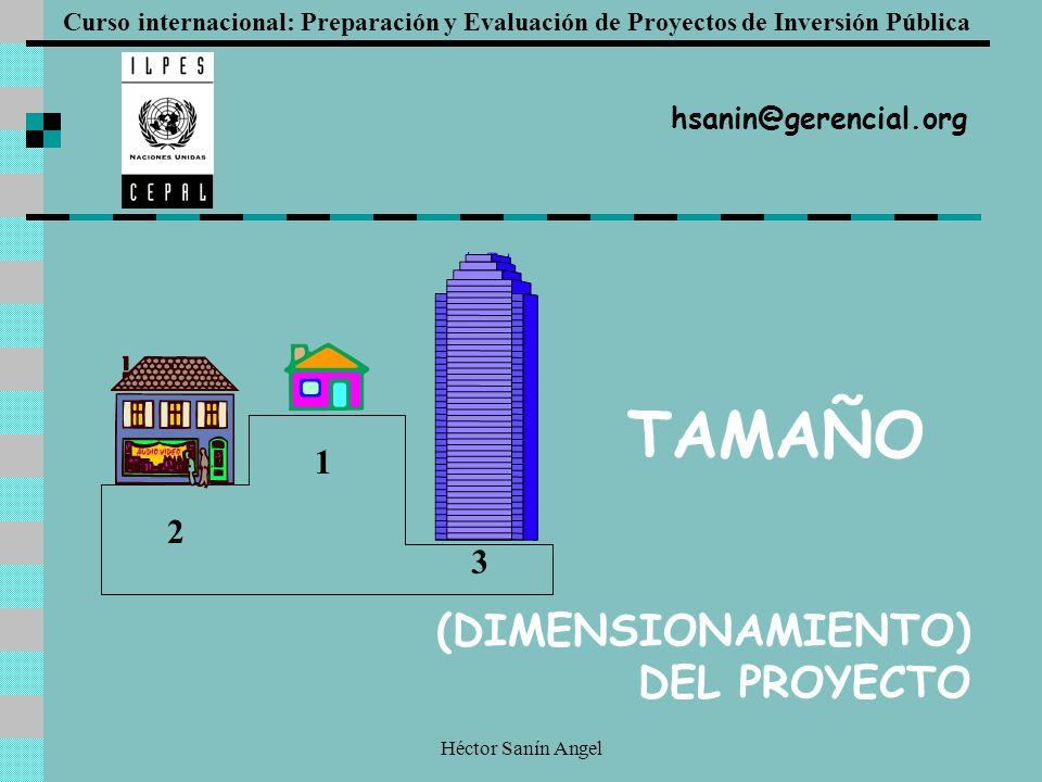 Héctor Sanín Angel (DIMENSIONAMIENTO) DEL PROYECTO 1 2 3 Curso internacional: Preparación y Evaluación de Proyectos de Inversión Pública TAMAÑO hsanin