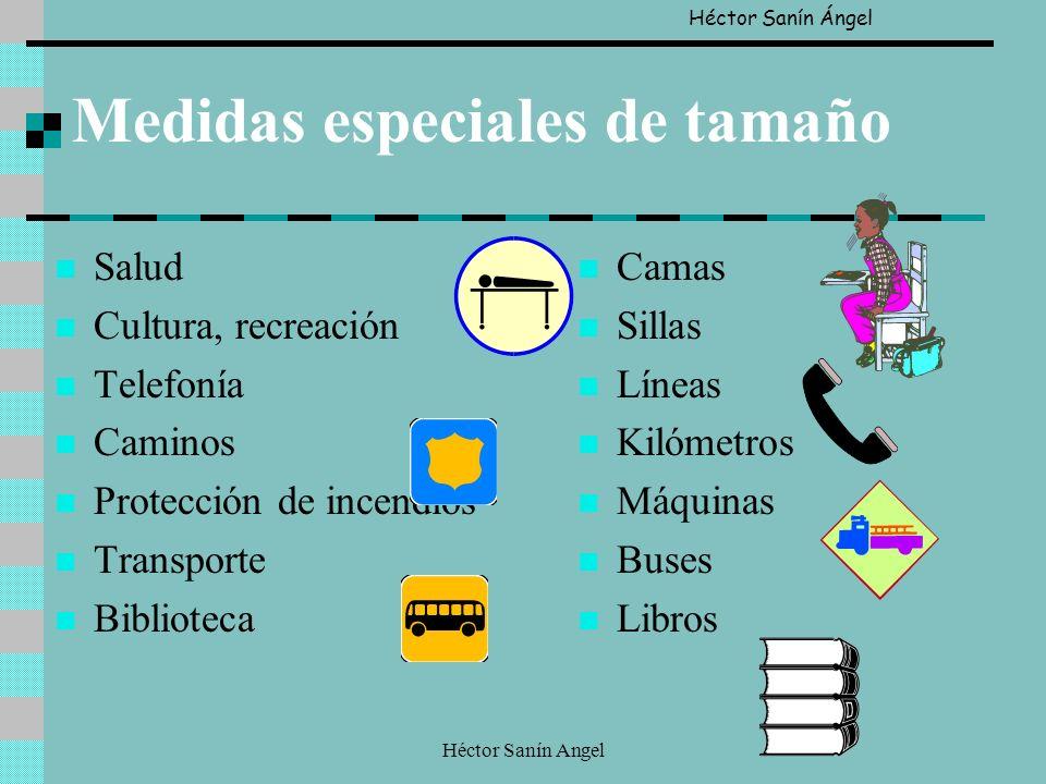 Héctor Sanín Angel Medidas especiales de tamaño Salud Cultura, recreación Telefonía Caminos Protección de incendios Transporte Biblioteca Camas Sillas