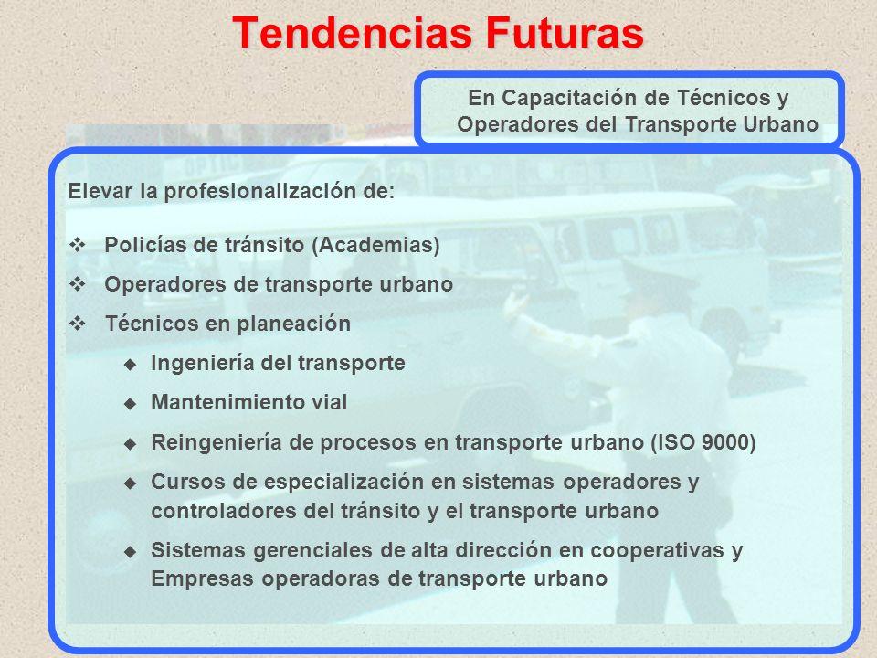 Tendencias Futuras ESTACION DE TRANSFERENCIA ESTACION DE TRANSFERENCIA Se intensifican acciones de: Planeación de transporte urbano oEstudios integral