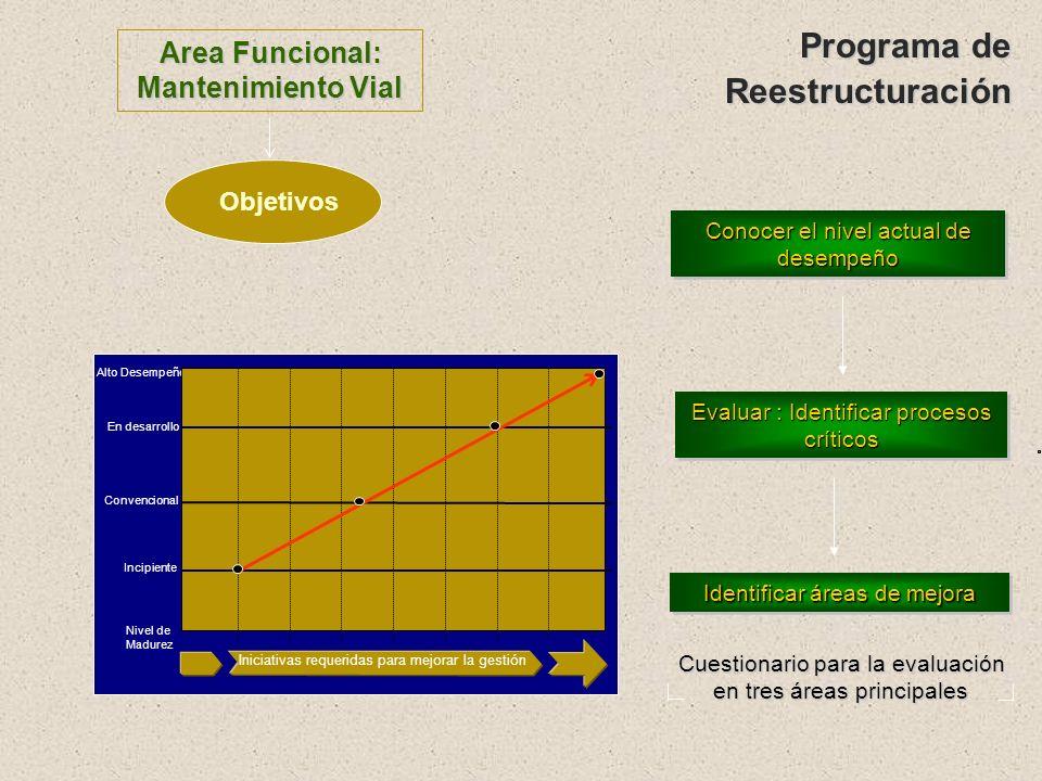 Reestructuración De Procesos Críticos Reestructuración de Procesos Críticos Definir nivel deseado según metas Evaluar requerimientos para los indicado